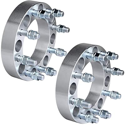 "ECCPP 8 lug Wheel Spacers Adapters 1.5"" 8x6.5 to 8x6.5 8x165.1 to 8x165.1 126.15mm 2x fit for Ford F250 F350 Dodge Ram 2500 3500 with 9/16"" Stud: Automotive"