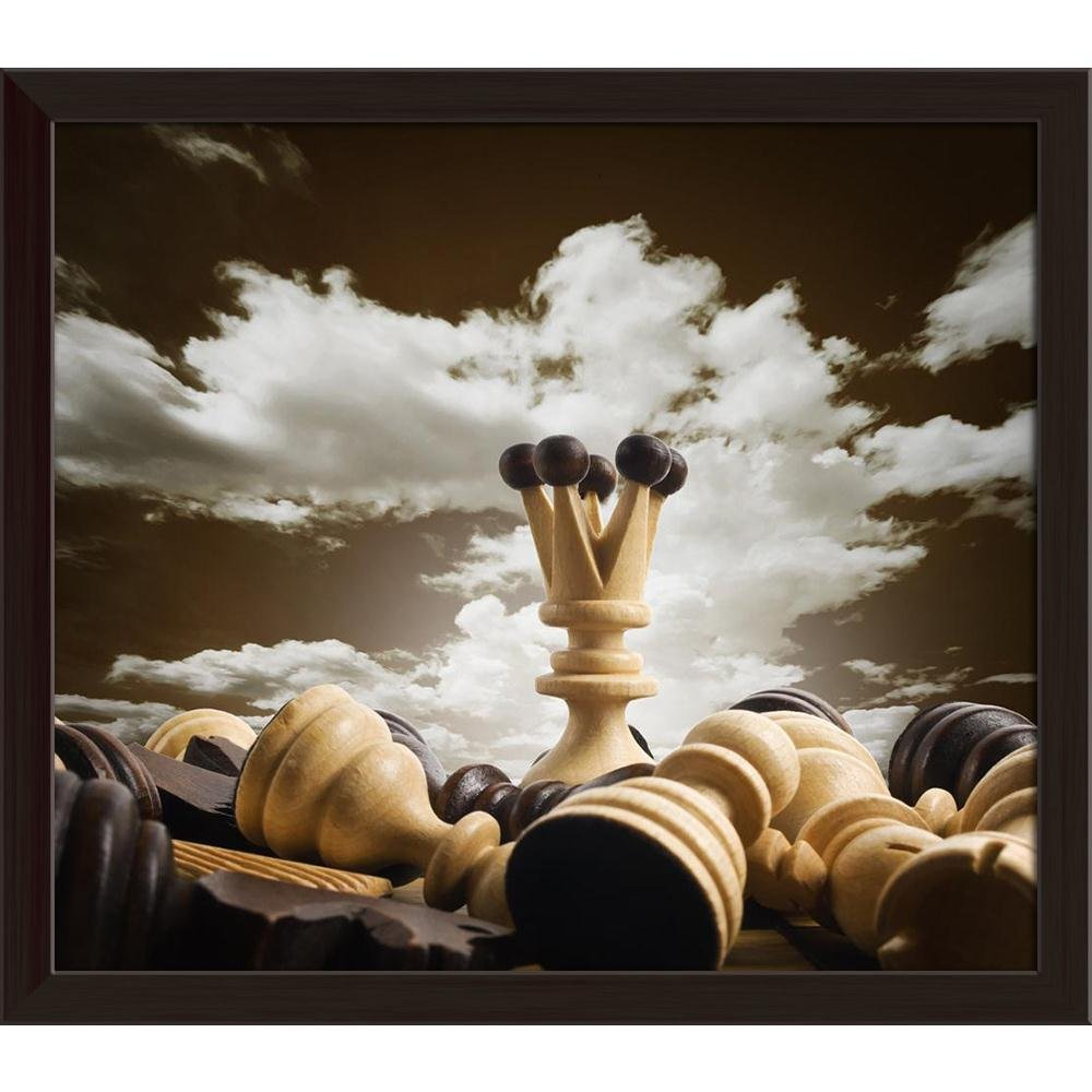 ArtzFolio Chess Board Canvas Painting Dark Braun Wood Frame 13.6 x 12inch