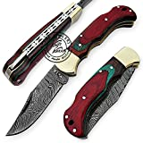 Multi Colour Wood 6.5'' 100% Handmade Damascus Steel...