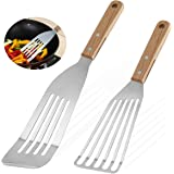 Grilljoy 2-Piece Slotted Fish Spatulas, 9 inch & 12 inch Fish Flippers, Flexible Stainless Steel Blade with Beveled Edge…