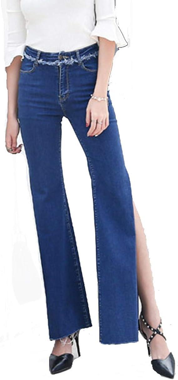 Jeans Para Mujer Cintura Alta Jeans Laterales Abiertos Pantalones Largos Pierna Ancha Delgados Elasticos Vaqueros Azul Xl Amazon Com Mx Ropa Zapatos Y Accesorios