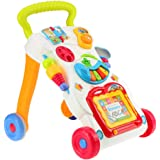 Multifunctional Baby Walker Stand-to-Sit Trolley Kids Toddler Learning Walk Music Piano Phone Drawing Toy