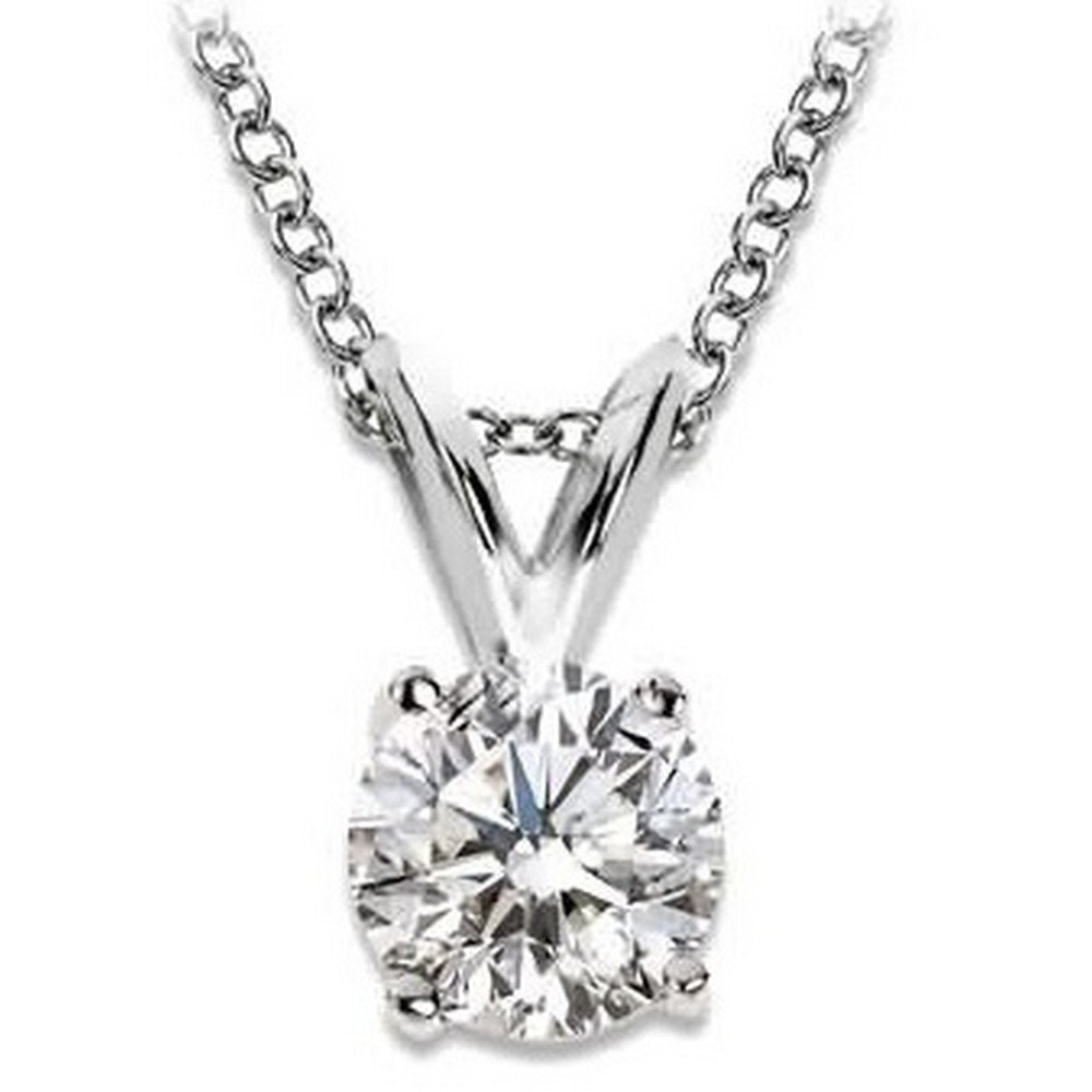 3e1d6335ff867 1/2 Carat 4 Prong Solitaire Basket Diamond Pendant Necklace 14K White Gold  (K, I2, 0.5 ctw)