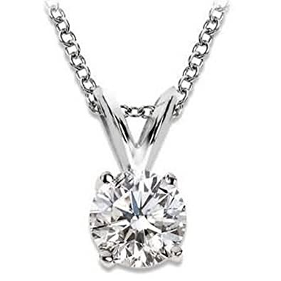 Amazon 12 carat 4 prong solitaire basket diamond pendant 12 carat 4 prong solitaire basket diamond pendant necklace 14k white gold k aloadofball Image collections