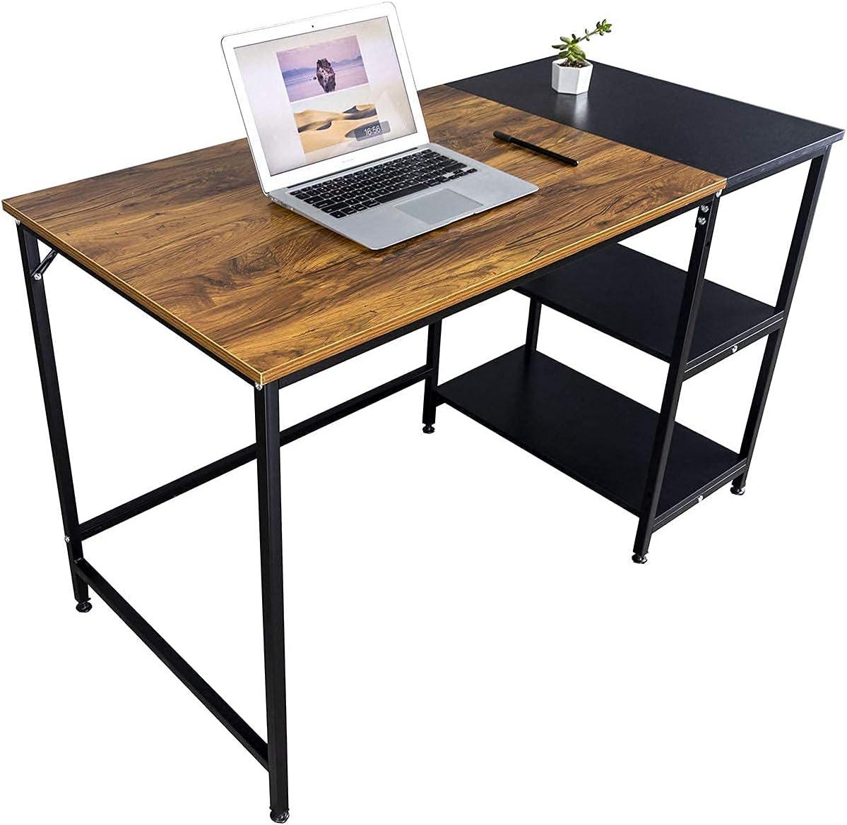 DIMAR GARDEN Computer pc Desk with Metal Storage Shelvesfor Home Office Laptop Desk Gaming Table IndustrialStudy Writing TableWorkstation