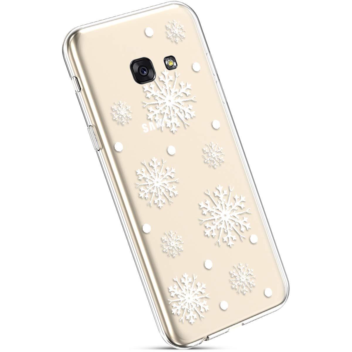 YSIMEE Custodia Samsung Galaxy A3 2017, Xmas Decorazioni Natalizie Custodie Gel Trasparente Silicone Morbida Ultra Sottile Chiaro TPU Antiurto Gomma Cover per Samsung A3 2017-Mucchio di neve