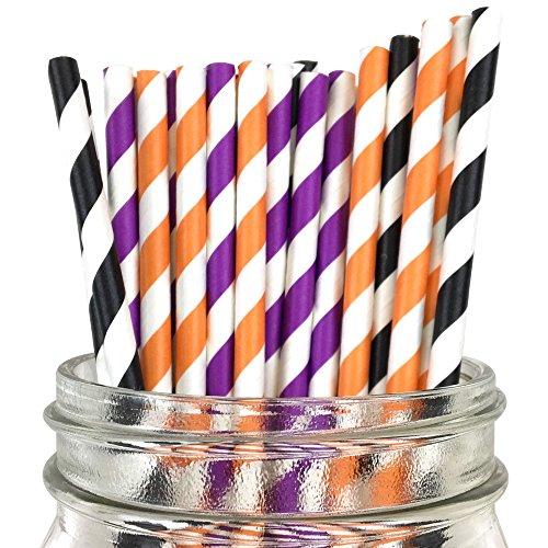(Just Artifacts Assorted Decorative Striped Paper Straws 100pcs - Black/Purple/Orange Striped)