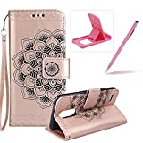 Rope Leather Case for LG K4 2017,Strap Wallet Case for LG K4 2017,Herzzer Bookstyle Classic Elegant Mandala Flower Pattern Stand Magnetic Smart Leather Case with Soft Inner for LG K4 2017 + 1 x Free Pink Cellphone Kickstand + 1 x Free Pink Stylus Pen - Rose Gold