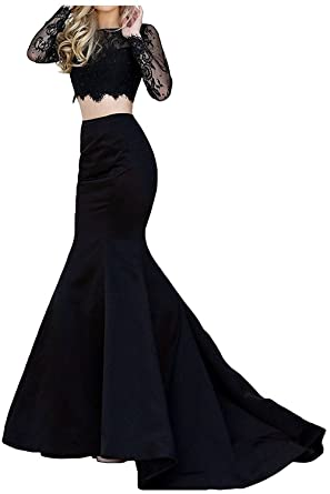 e1b4039ac2 Women Satin Two Piece Long Sleeve Lace Top Mermaid Prom Dress 2018 Evening  Gown Black US2