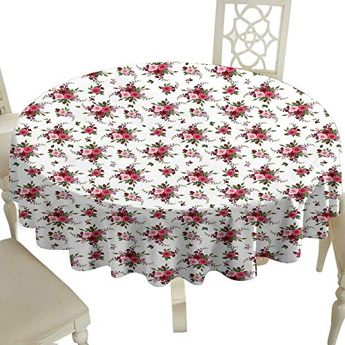 (Grid round table cloth 60 Inch Flowers,Bridal Bouquets Pattern with Roses and Freesia Romantic Victorian Composition,Pink Ruby Green Great for,family,outdoors,restaurant,Party,Wedding,Coffee Bar,trave)