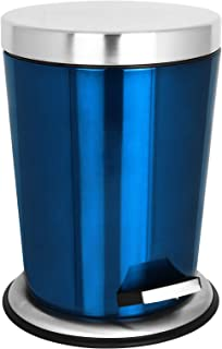 TW24 Badmülleimer 5L mit Farbwahl Mülleimer Edelstahl Abfalleimer Müllsammler Abfallbehälter Kosmetikeimer (Blau)