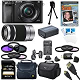 Sony Alpha a6000 24.3MP Interchangeable Lens Camera - Body only w/ Tascam DSLR Audio Recorder and Shotgun Microphone + 128GB & 64GB Pro Video Bundle (2 Lens Kit 16-50mm & Silver 55-210mm)