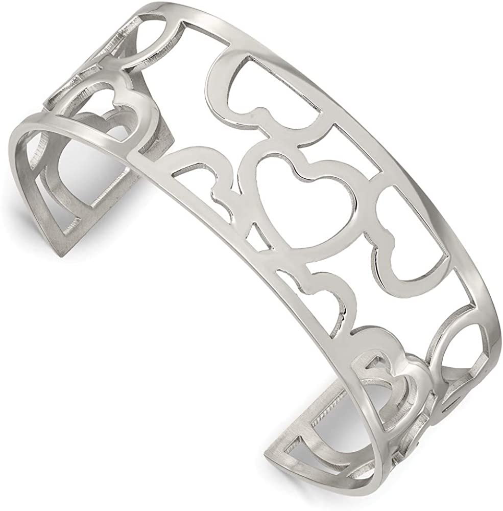 Saris and Things Stainless Steel Hearts Cuff Bangle Bracelet
