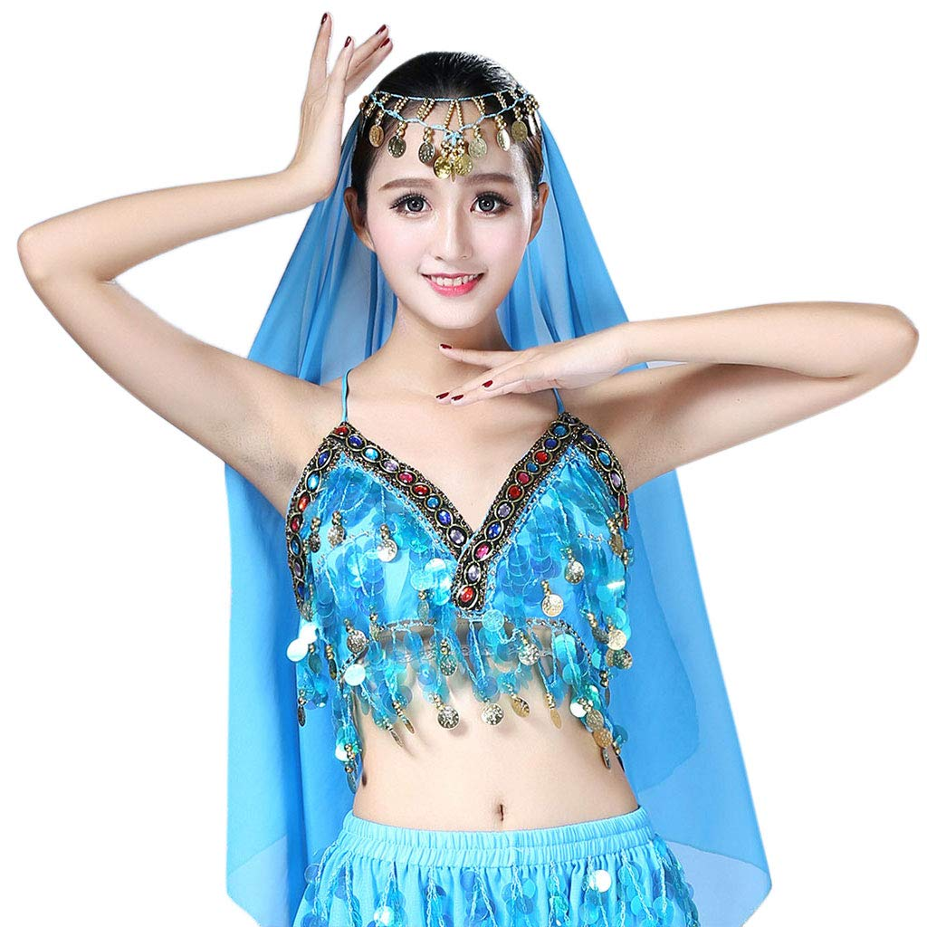 chenpaif Donne Paillettes Halter Bra Latin Belly Dance Nappa Top Party Club Costume Crop Top 1# Bianco