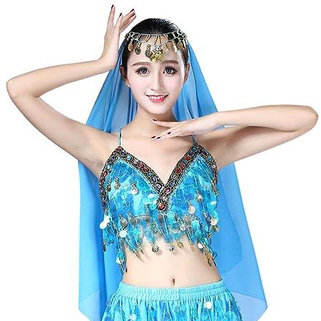 b33d2d8fcc6 Lamdoo Women Sequin Halter Bra Latin Belly Dance Tassel Top Party Club  Costume Crop Top Lake Blue: Amazon.co.uk: Kitchen & Home
