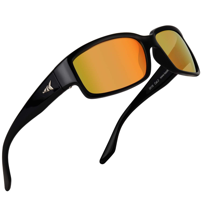 KastKing Skidaway Polarized Sport Sunglasses, Gloss Black Frame, Amber Scarlet Mirror
