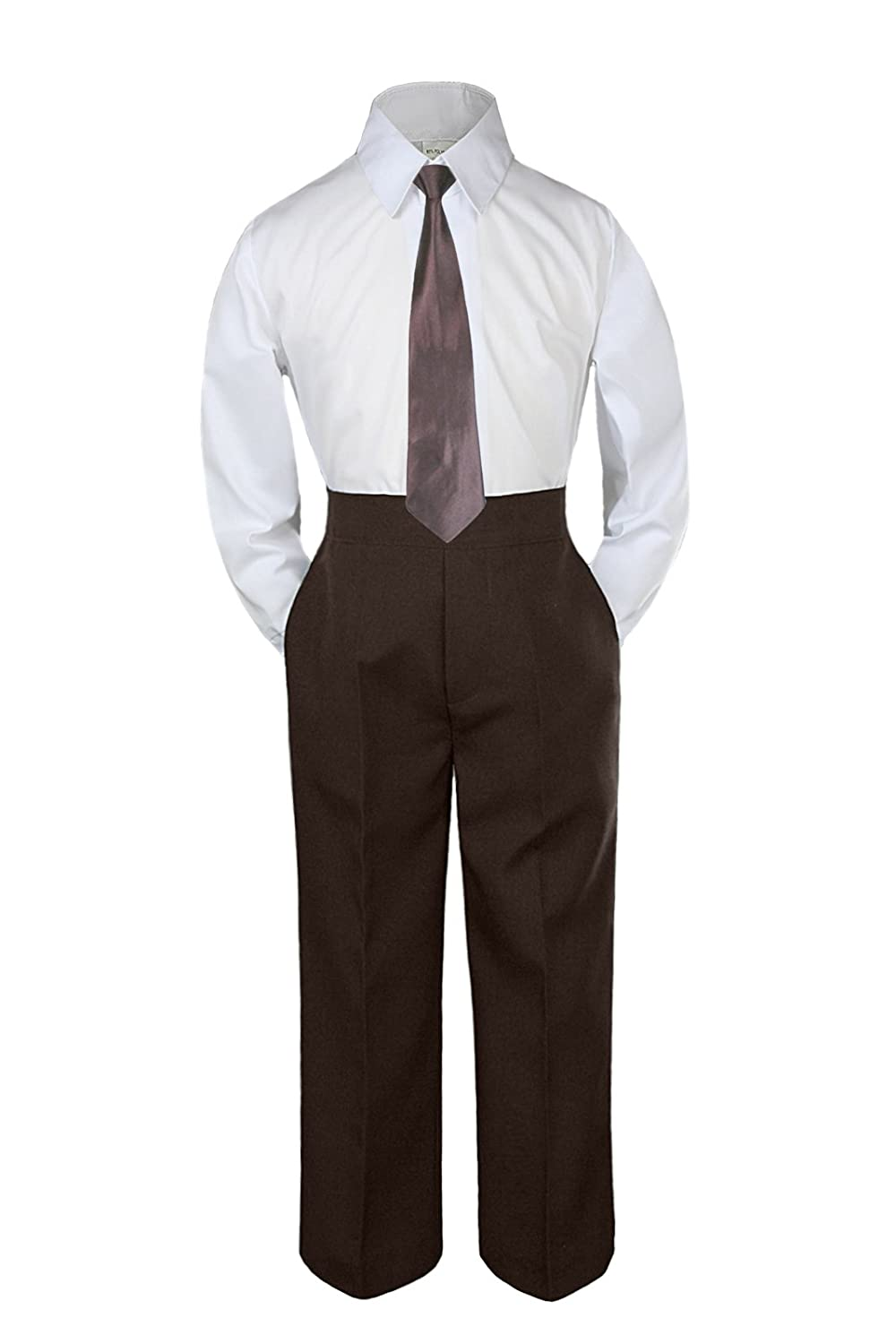 Leadertux 3pc Formal Baby Toddler Boys Brown Necktie Brown Pants Suits Sets S-7 3T