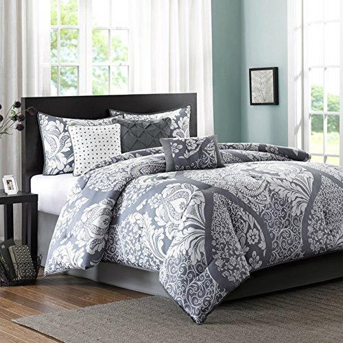 Gray Paisley (Elegant 7 Piece Comforter Set in Gray Paisley Pattern - 100% cotton, Light Weight, King Size)