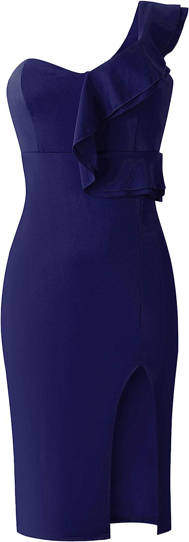 ECOWISH Women's Dresses Sexy Ruffle One Shoulder Sleeveless Split Bodycon Midi Party Dress: Clothing