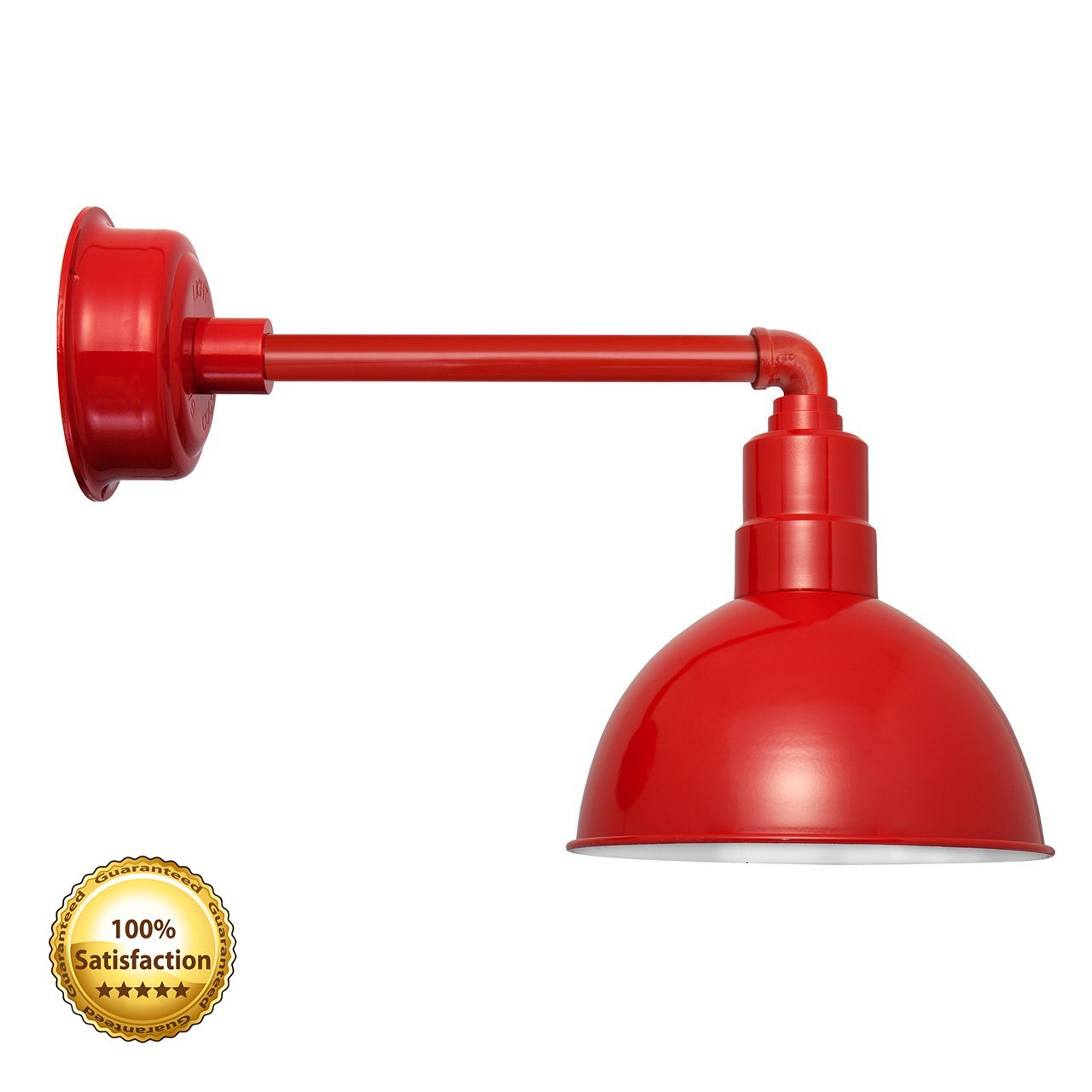 Cocoweb 8 inch Red Blackspot LED dimmable gooseneck barn light wall sconce fixture with metropolitan arm - BBSW8CR-1R by Cocoweb