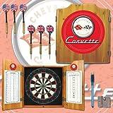 Trademark Corvette C1 Dart Cabinet Includes Darts and Board (Red)