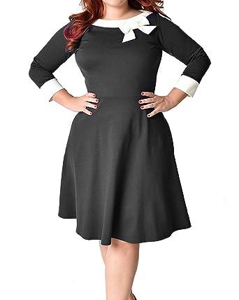 Daci Womens Plus Size Vintage 1950s Cape Collar Swing Midi Cocktail