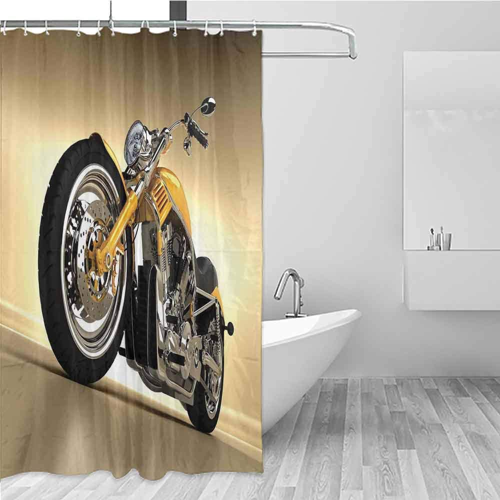 BE.SUN Shower Curtain,Motorcycle,Bathroom Curtain Washable Polyester,W72x84L Yellow Silver by BE.SUN