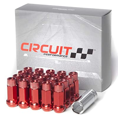 Circuit Performance Forged Steel Extended Open End Hex Lug Nut for Aftermarket Wheels: 12x1.5 Red - 20 Piece Set + Tool: Automotive