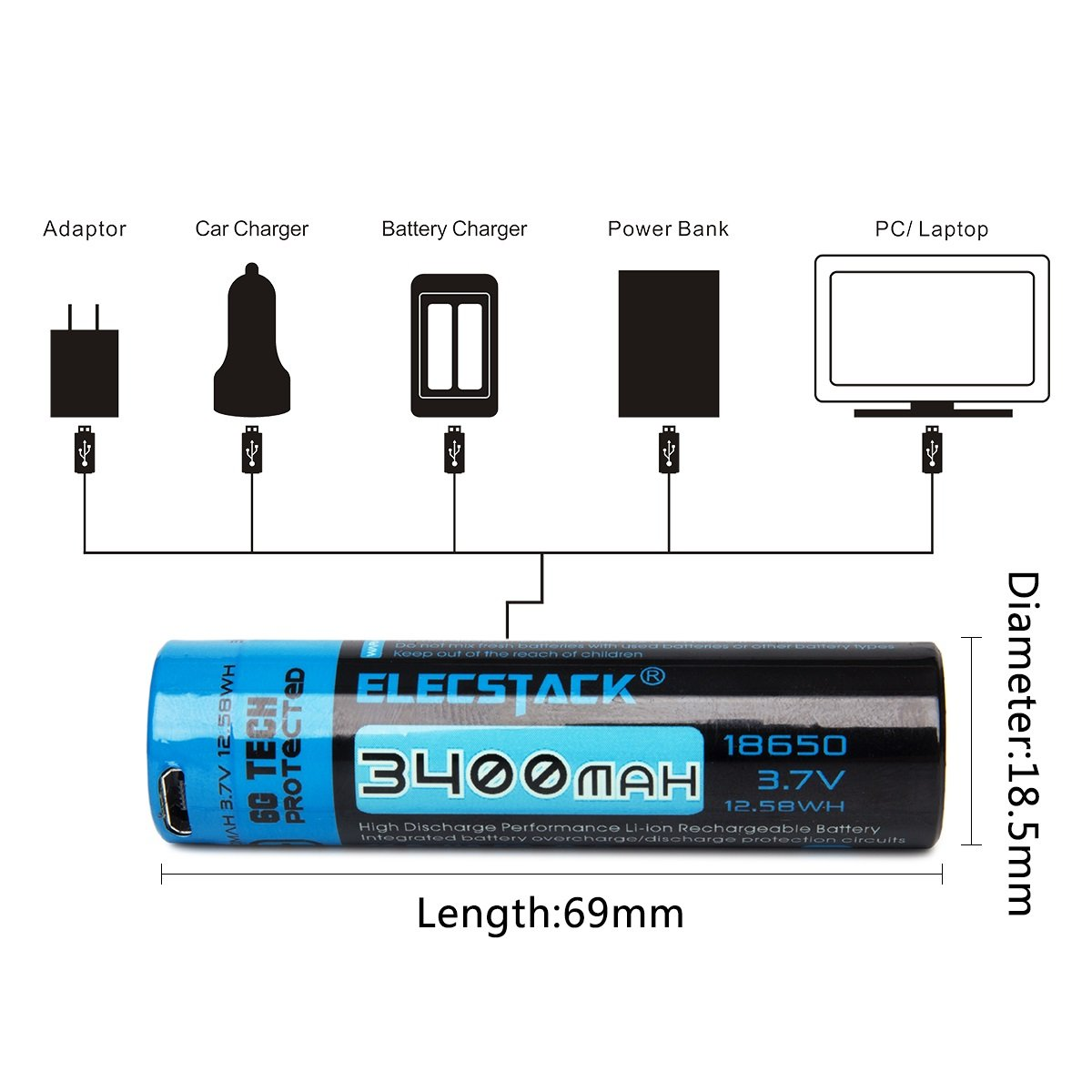 Amazoncom 18650 Battery Elecstack 3400mah Micro Usb Rechargeable 7v Liion W Protection Circuit Batteries For High Drain Devices With Performance Protected Home Audio