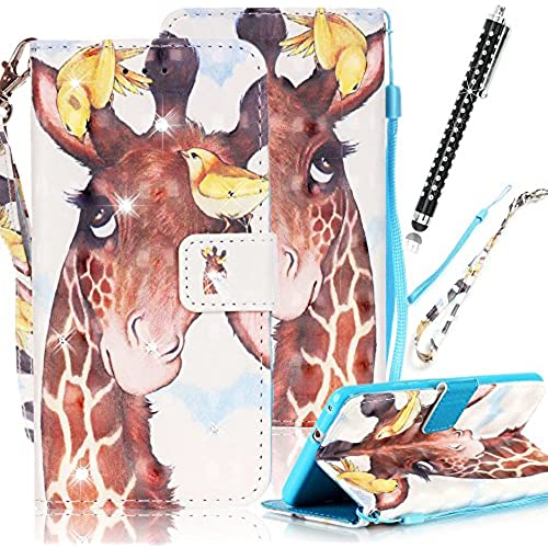 Galaxy S7 Edge Wallet Case, Pershoo Diamond Shiny Cute Giraffe PU Leather Magnetic Flip Stand Shock Absorbent Sales