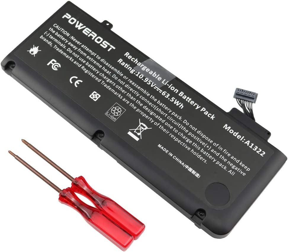 Powerost A1322 A1278 Laptop Battery(10.95V 63.5Wh) for MacBook Pro Battery 13 inch Mid 2012 2010 2009 Early & Late 2011, 661-5557 661-5229 MacBook pro Battery