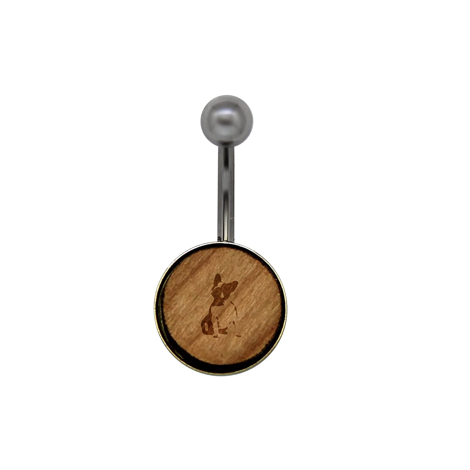 French Bulldog Surgical Stainless Steel Belly Button Rings Size 14 Gauge Wooden Navel Ring Rustic Wood Navel Ring with Laser Engraved Design