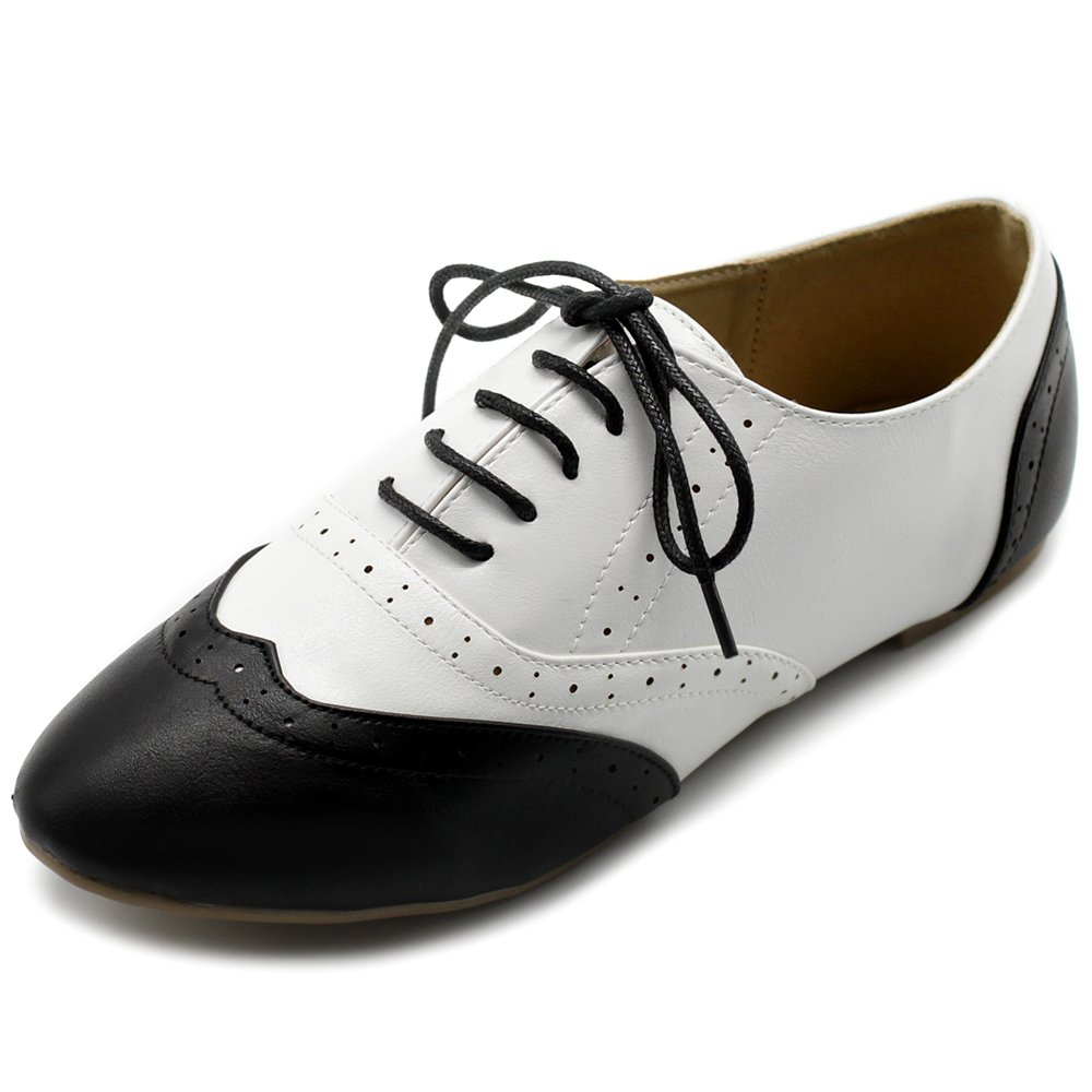 Ollio Women's Shoe Classic Lace up Dress Low Flat Heel Oxford M1914(9 B(M) US, Black-White)