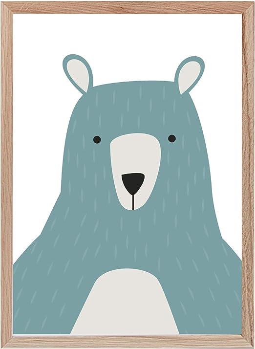Papers Rain Lámina Infantil Oso 30x40 para enmarcar. -Green Bear- Se envía Desde España: Amazon.es: Hogar