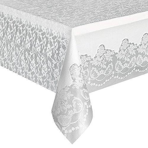 "White Lace Plastic Tablecloth, 108"" x 54"