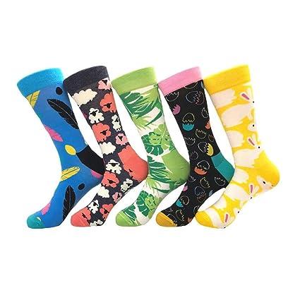 Color par calcetines, viento étnico deja dibujos animados huevo medias, algodón hombres y mujeres