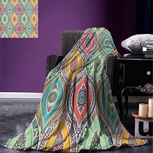 smallbeefly Traditional Digital Printing Blanket Ethnic Ornamental Arabian Middle Eastern Ottoman Persian Bohemian Antique Motif Summer Quilt Comforter Multicolor by smallbeefly