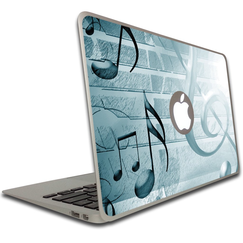 VictoryStore Removable Vinyl Cover - Teal Music Notes, Vinyl Decal for Macbook Air or Macbook Pro, Size 13 Inches
