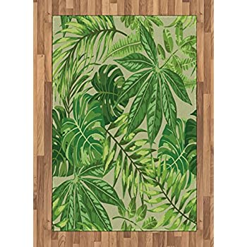 Amazon Com Ambesonne Green Leaf Area Rug Exotic Pattern