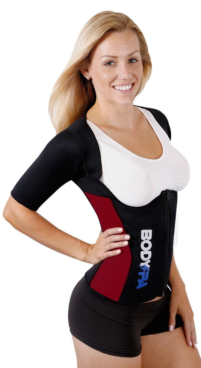 Body Spa Light Neoprene Vest with Sleeves Exercise Gym Sauna Shaper Weight Loss (X-Large, Burgundy) 13830