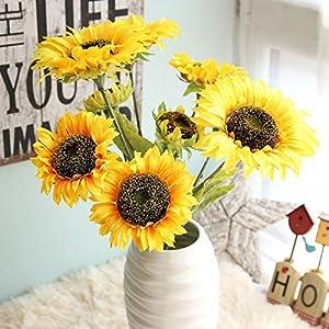 Fake Flowers Home Garden Kitchen Accessories Artificial Flora Sunflower Floral Wedding Bouquet Party Decor 21