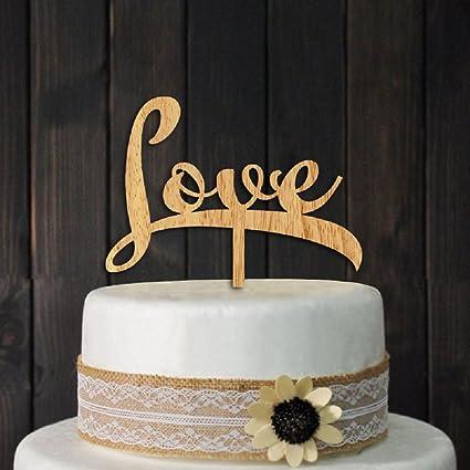 Adorno para tartas de amor de madera para aniversario de ...