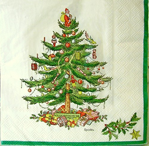 - spx20L Spode Christmas Tree Paper Luncheon Napkins, Green Border, 20 Ct