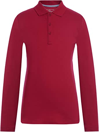 Tommy Hilfiger Girls Long Sleeve Interlock Big Girls Fit Polo Polo Shirt