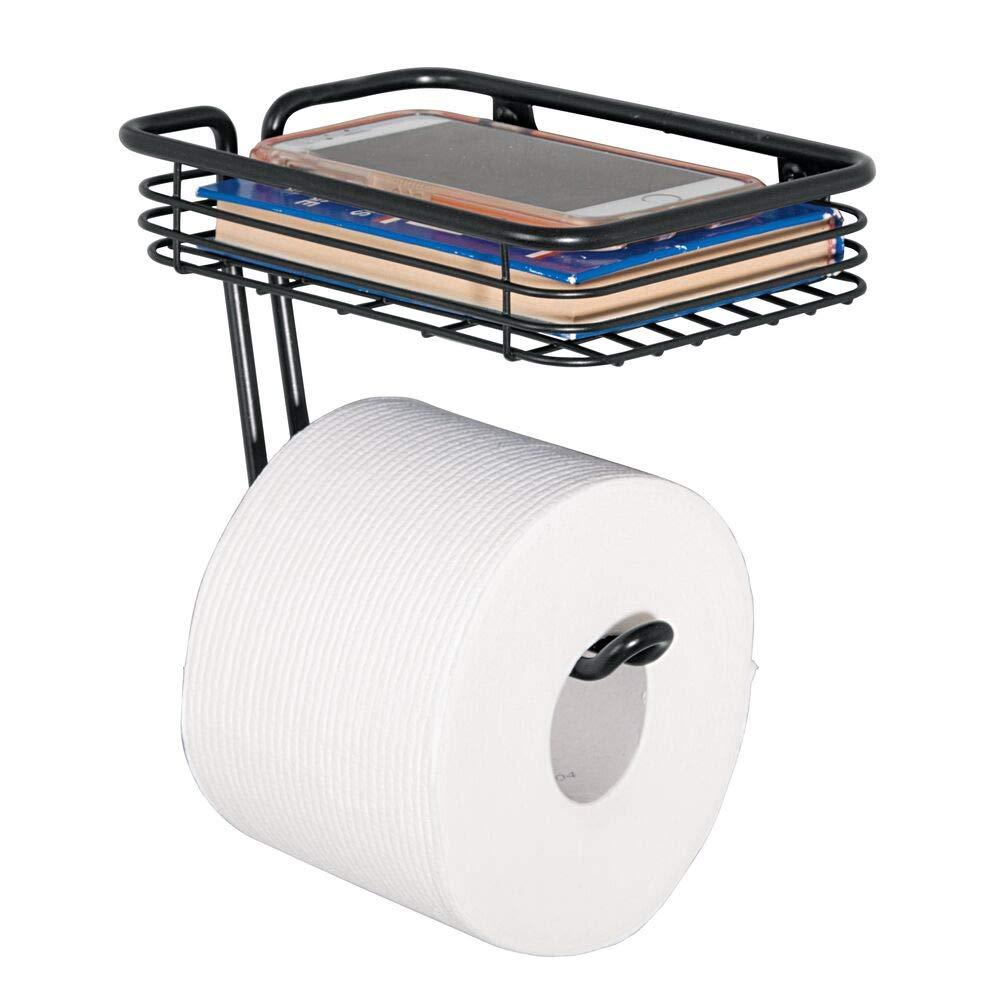 praktischer Toilettenrollenhalter aus Metall Mattschwarz Ablage f/ür Feuchtt/ücher - moderner Klopapierhalter Magazine etc inkl mDesign Toilettenpapierhalter mit Ablagefl/äche