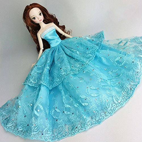 {Factory Direct Sale} Blue Handmade Fashion Wedding Gown Dresses Clothes Outfit Girl Party For Princess Barbie Doll