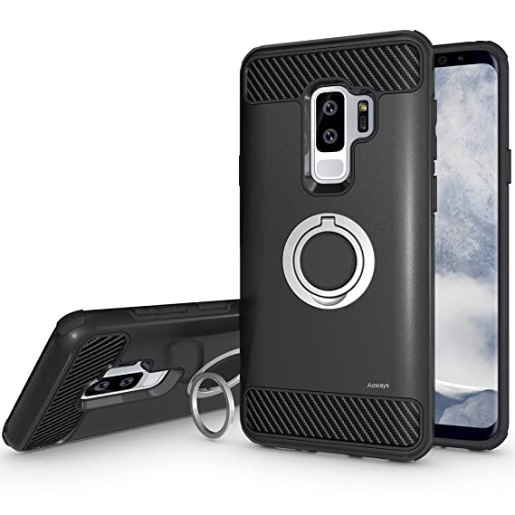 info for fb9da 2944c Galaxy S9 Plus Case, Aoways Armor Dual Layer Case with Rotatable Finger  Ring Kickstand Magnetic Car Mount Protective Cover for Samsung Galaxy S9  Plus ...