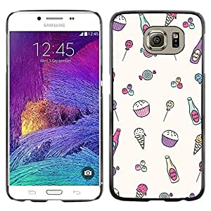 Impact Case Cover with Art Pattern Designs FOR Samsung Galaxy S6 Ice-Cream Minimalist Cupcake Happy Pattern Betty shop