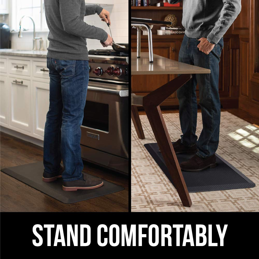 Kangaroo Original 3/4'' Standing Mat Kitchen Rug, Anti Fatigue Comfort Flooring, Phthalate Free, Commercial Grade Pads, Waterproof, Ergonomic Floor Pad, Rugs for Office Stand Up Desk, 32x20 (Gray) by Kangaroo (Image #6)