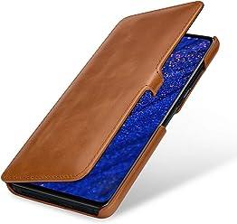 StilGut Housse pour Huawei Mate 20 Book Type en Cuir, Cognac avec Clip